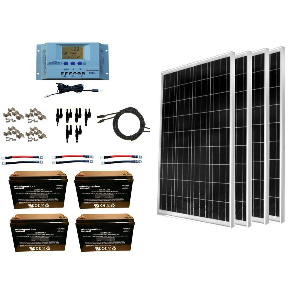 WindyNation 400-Watt Off-Grid Polycrystalline Solar Panel Kit with 12-Volt  AGM Deep Cycle Battery
