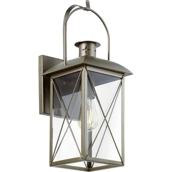 Woodcliff 1-Light 20 in. Weathered Brass Outdoor Wall Lantern with Clear Glass