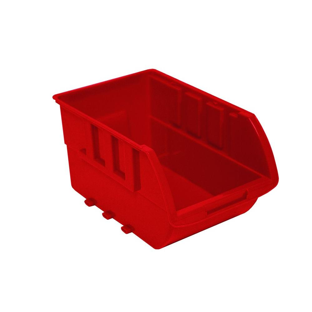 1-Compartment Stackable Bin Small Parts Organizer in Red