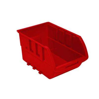 0-Compartment Stackable Bin Small Parts Organizer in Red