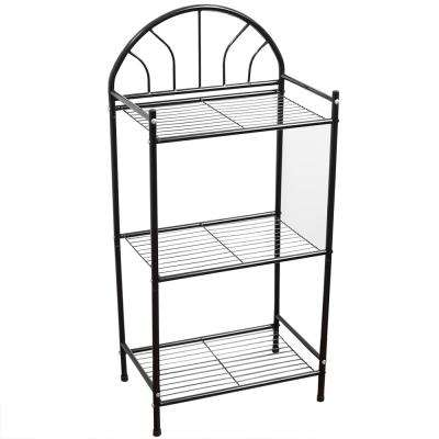 11 in. W x 17 in. D Multi-Purpose Bath Storage Shelf in Black Enamel Coated Steel
