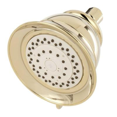 4-Spray 5 in. Single Wall Mount Fixed Shower Head in Polished Brass