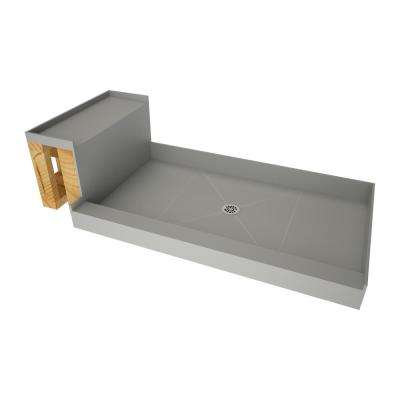 48 in. x 72 in. Single Threshold Shower Base in Gray and Bench Kit with Center Drain