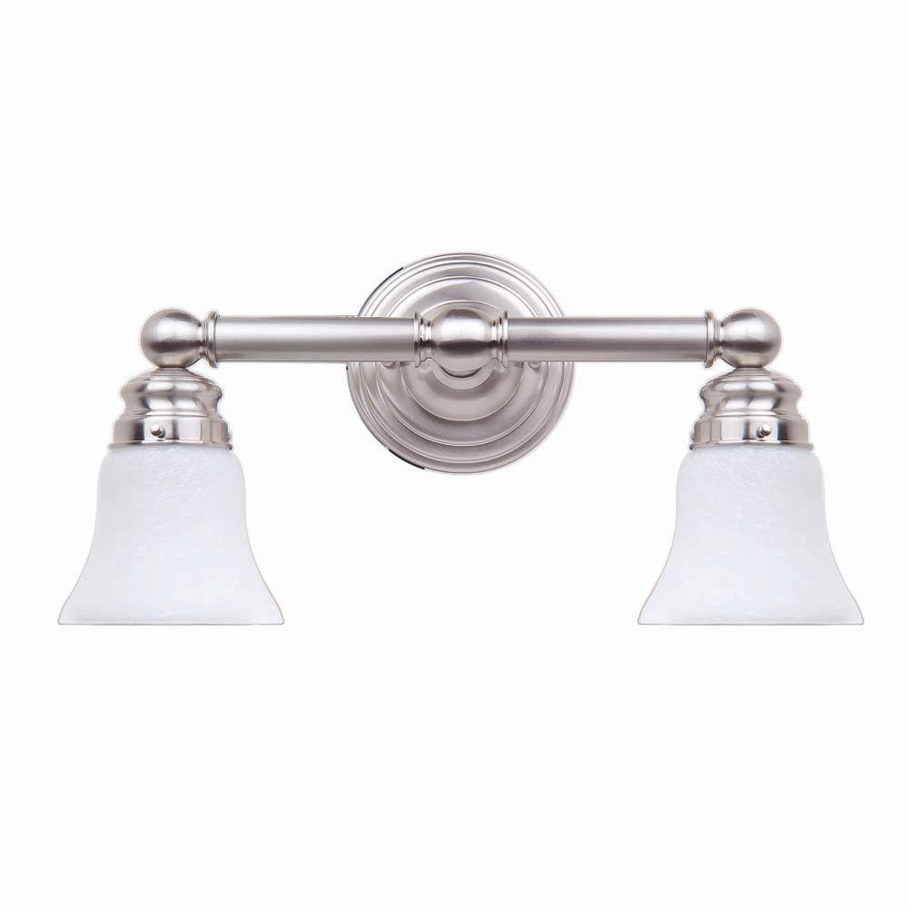 Hampton Bay 2 Light Brushed Nickel Bath Light 05380 The Home Depot