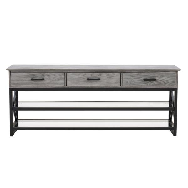 Houston 60 in. Whitewash Grey Engineered Wood TV Stand with 3 Drawer Fits TVs Up to 70 in. with Cable Management