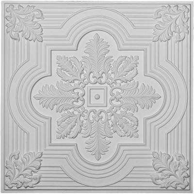 Adonis 2 ft. x 2 ft. Glue Up or Nail Up Polyurethane Ceiling Tile in White