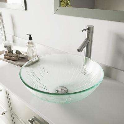 Glass Vessel Bathroom Sink in Clear Icicles and Dior Faucet Set in Brushed Nickel