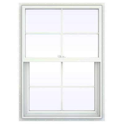 29.5 in. x 47.5 in. V-2500 Series White Vinyl Single Hung Window with Colonial Grids/Grilles