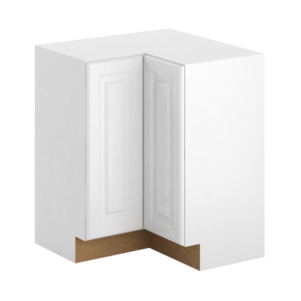 Elegant Hampton Bay Madison Assembled 28.5x34.5x28.5 In. Lazy Susan Corner Base  Cabinet In Warm White BC3636 MWW   The Home Depot