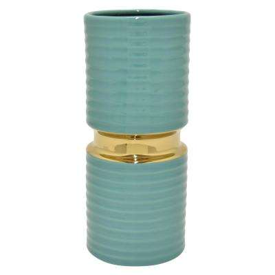 11 in. Turquoise and Gold Porcelain Vase