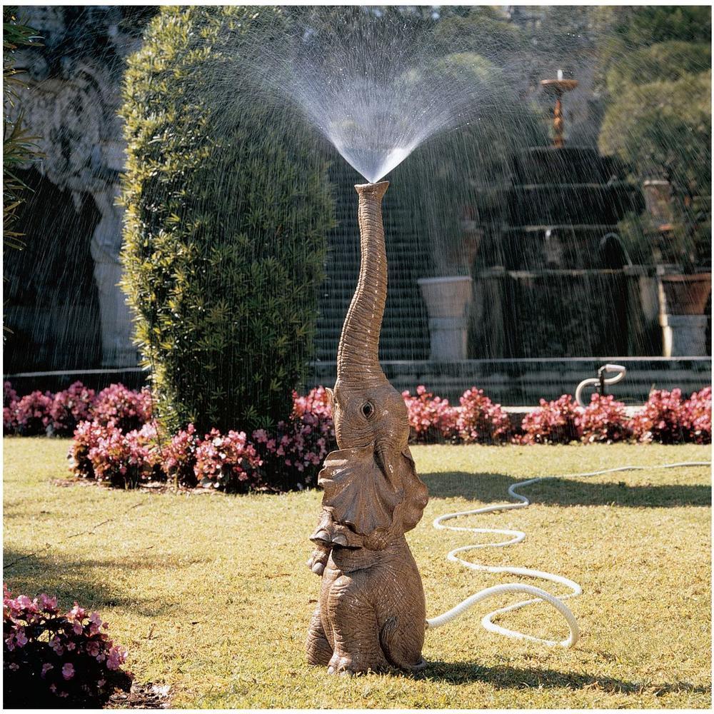 Tiny the Elephant Stone Bonded Resin Lawn and Garden Sprinkler