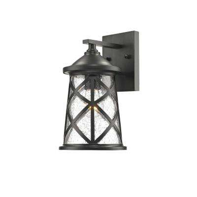 1-Light 10 in. High Powder Coated Black Outdoor Wall Lantern Sconce with Glass Shade