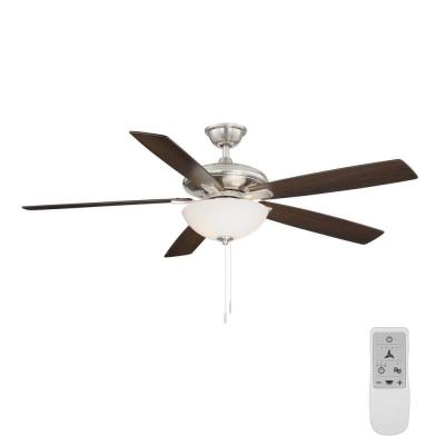 Abbeywood 60 in. LED Brushed Nickel Ceiling Fan With Light Kit and WiFi Remote works with Google Assistant and Alexa