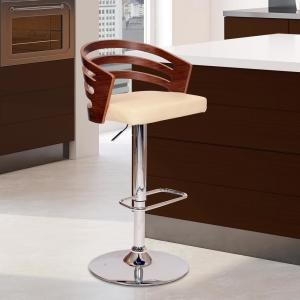 Armen Living Adele 44 In Cream Faux Leather And Chrome Finish Swivel Barstool Lcadswbacrwa The Home Depot