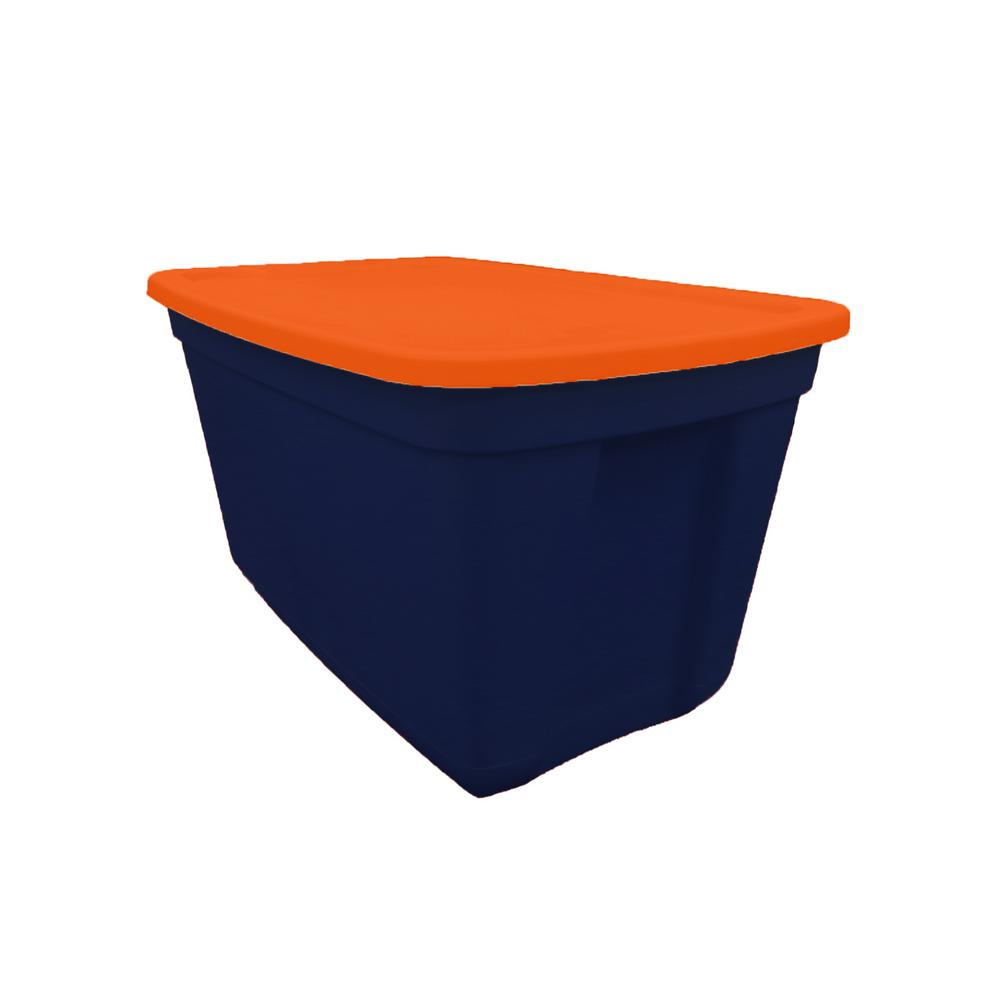 20 Gal. Storage Tote Ink Spot Base-Deep Orange Lid
