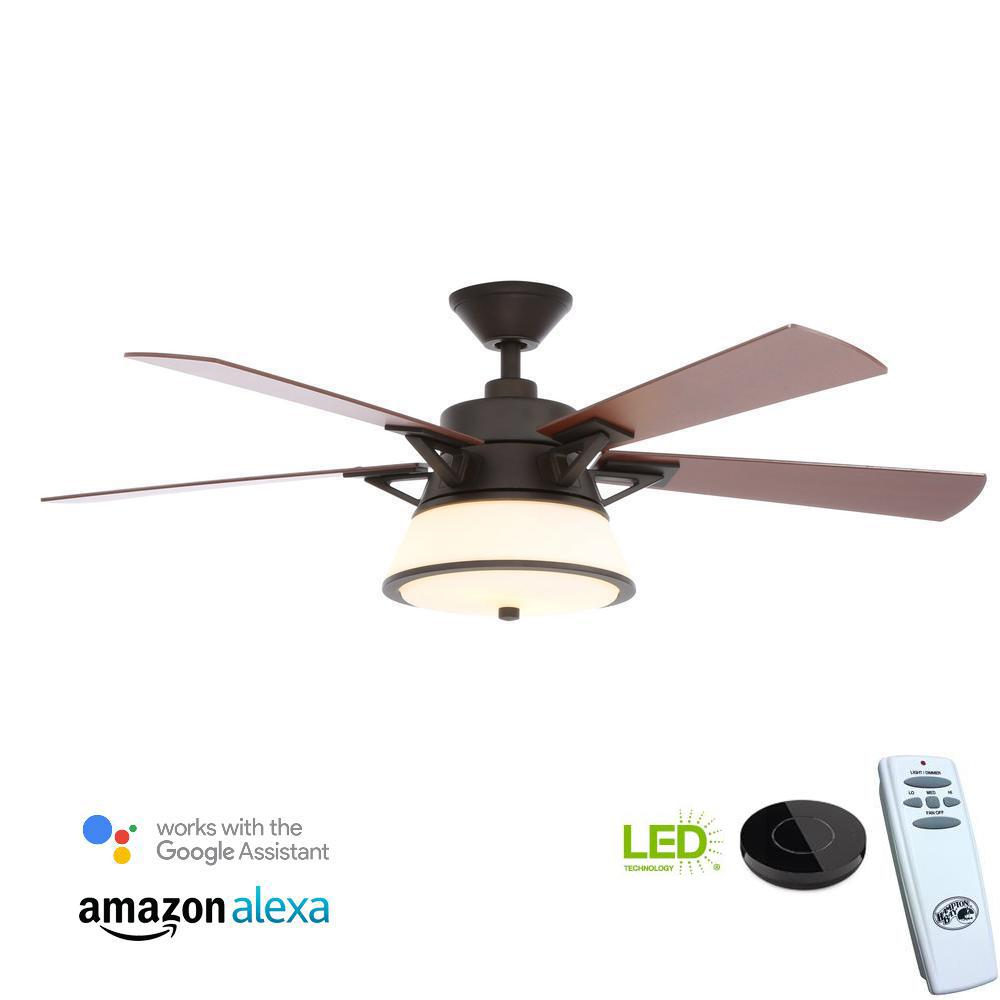 Hampton Bay Marlowe 52 in. LED Oil Rubbed Bronze Ceiling Fan with Light Kit Works with Google Assistant and Alexa