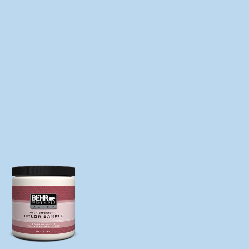 BEHR Premium Plus Ultra 8 oz. #P520-1 First Rain Matte Interior/Exterior Paint and Primer in One Sample