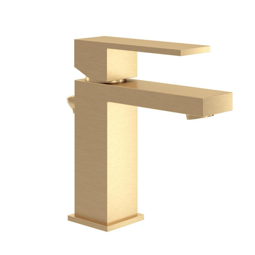 Symmons Duro Single Hole Single-Handle Bathroom Faucet with Drain Assembly in Brushed Gold