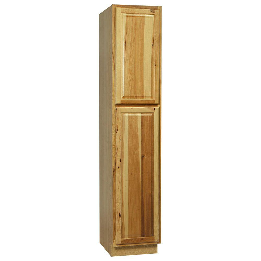 Hampton Bay Hampton Assembled 18x90x24 in. Pantry Kitchen Cabinet in  Natural Hickory