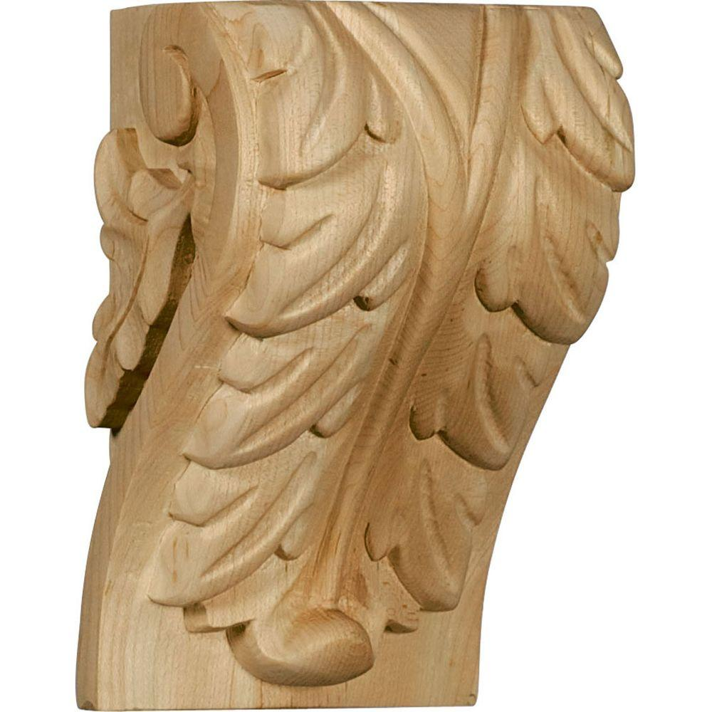 Ekena Millwork 3-1/4 in. x 3-3/4 in. x 6 in. Unfinished Wood Cherry Large Acanthus Leaf Block Corbel