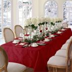 52 in. W X 70 in. L Red Elrene Barcelona Damask Fabric Tablecloth