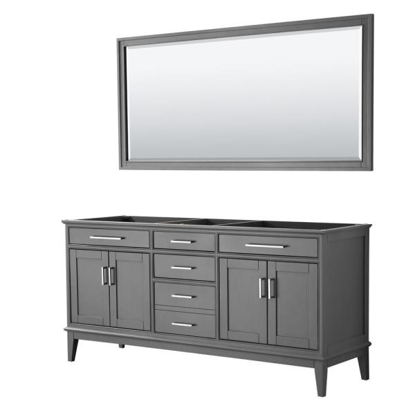 Margate 70.75 in. W x 21.5 in. D Bath Vanity Cabinet Only with 70 in. Mirror in Dark Gray