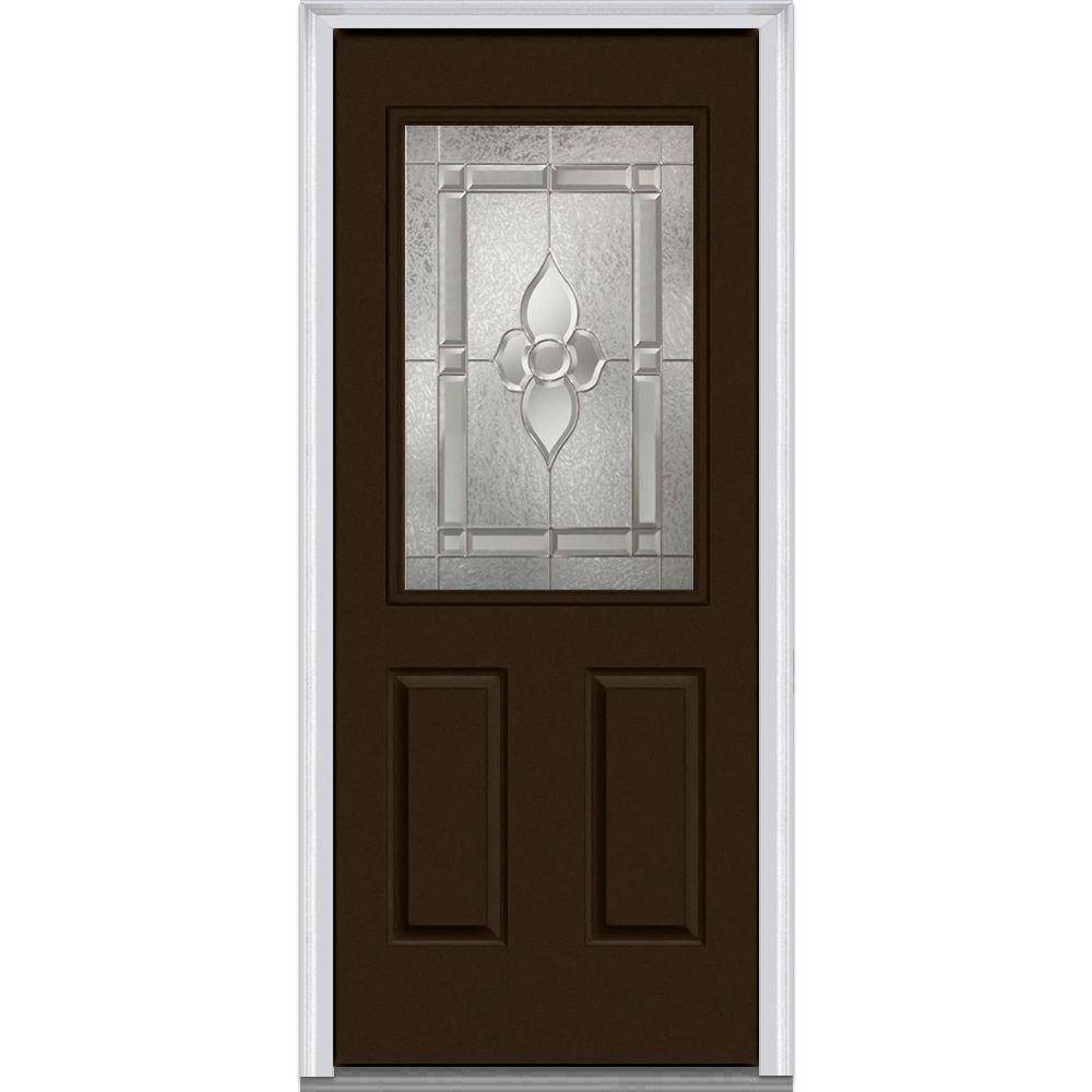 MMI Door 36 in. x 80 in. Master Nouveau Right-Hand 1/2-Lite Decorative 2-Panel Painted Fiberglass Smooth Prehung Front Door