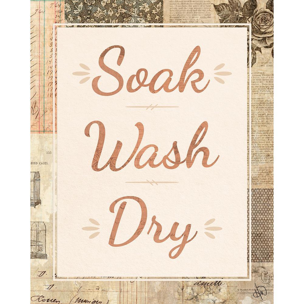 "20 in. x 24 in. ""Soak Wash Dry Scrapbook"" Planked Wood Wall Art Print"