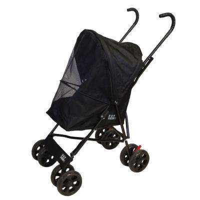 15.5 in. x 11 in. x 23 in. Black Travel Lite Pet Stroller