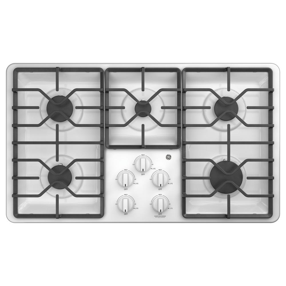 36 in. Built-In Gas Cooktop in White with 5 Burners including