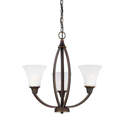 Metcalf 3-Light Autumn Bronze Chandelier with Satin Etched Glass Shades
