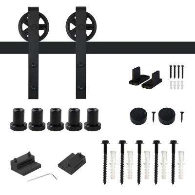 6.6 ft. /79 in. Frosted Black Sliding Barn Door Track and Hardware Kit for Single with Non-Routed Floor Guide