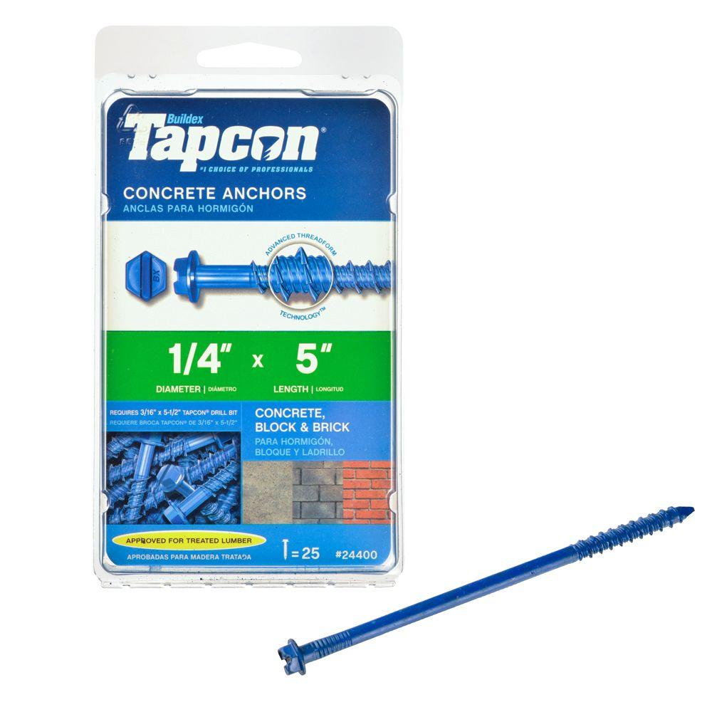 Tapcon 1/4 in. x 5 in. Hex-Washer-Head Concrete Anchors (25-Pack)