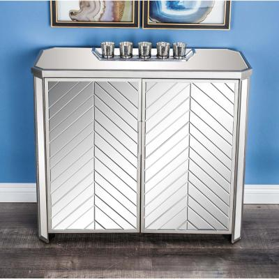 34 in. x 32 in. Matte White Curves Wood and Mirror Cabinet