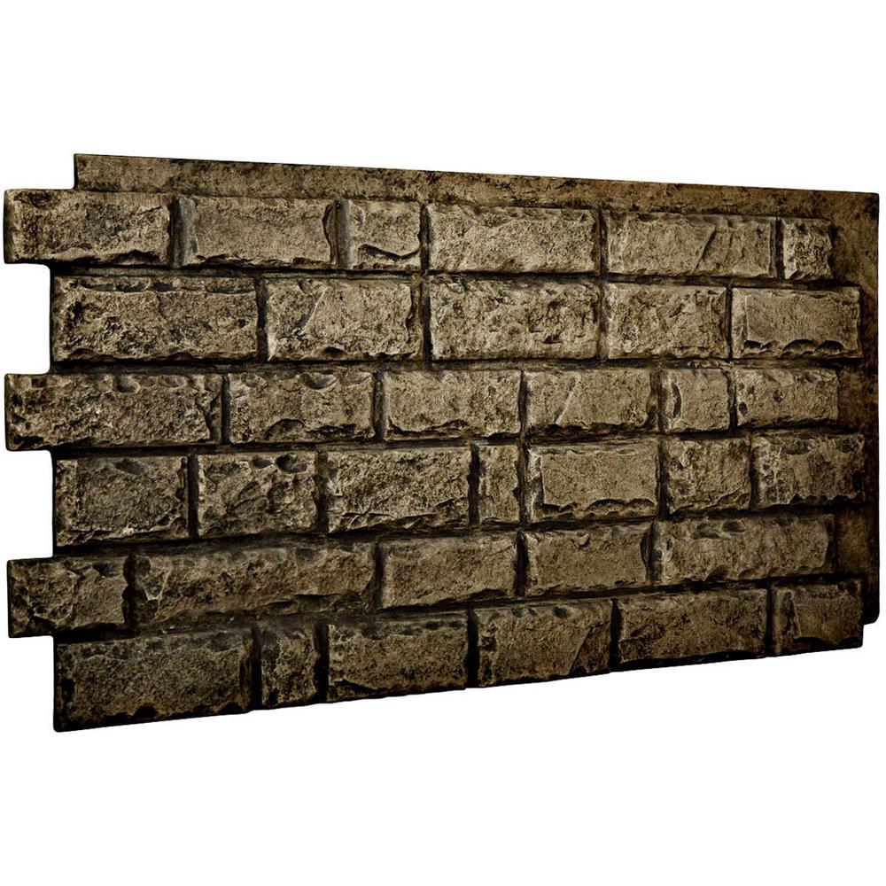 Ekena Millwork 1-1/2 in. x 48 in. x 25 in. Grey Urethane Cut Coarse Random Rock Wall Panel