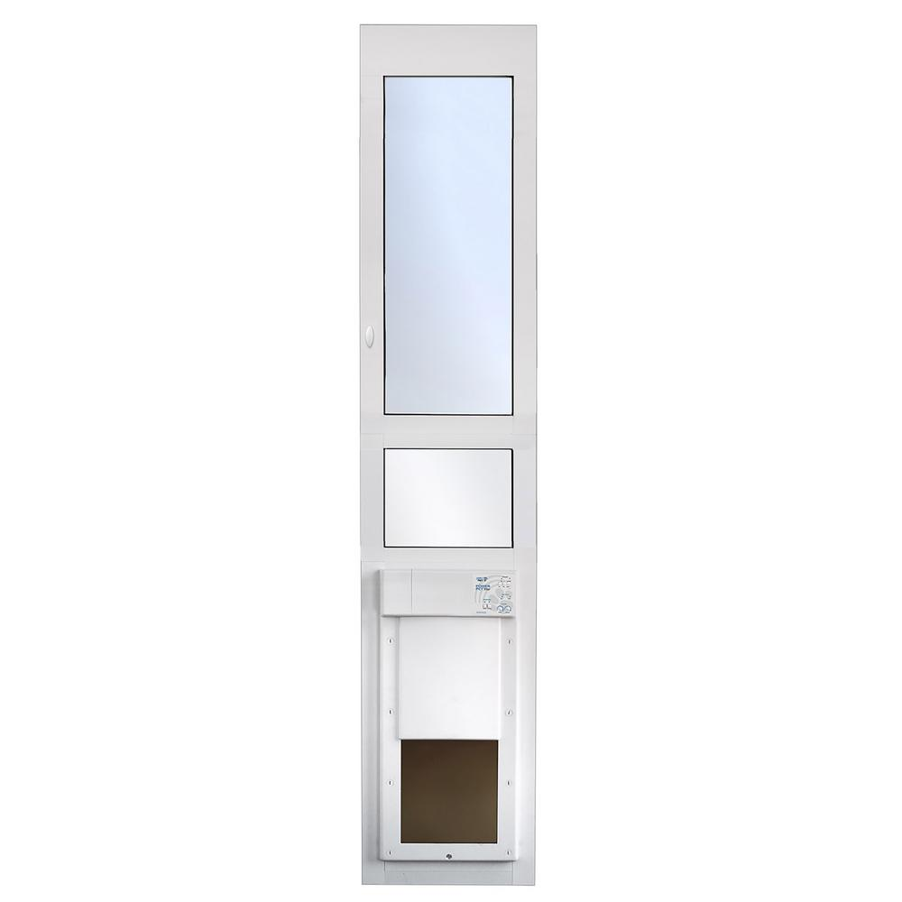 High Tech Pet 12-1/4 in  x 16 in  Power Pet Fully Automatic Patio Pet Door  with Dual Pane Low-E Glass, Tall Track Height