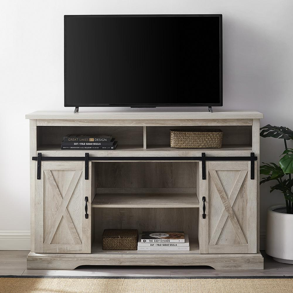 walker edison furniture company 52 in white oak sliding barn door highboy tv stand hd52hbsbdwo. Black Bedroom Furniture Sets. Home Design Ideas