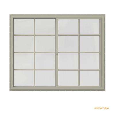 59.5 in. x 47.5 in. V-4500 Series Desert Sand Vinyl Right-Handed Sliding Window with Colonial Grids/Grilles