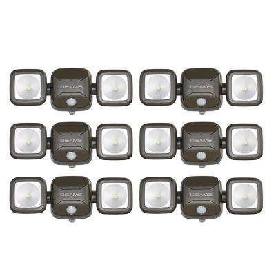 Wireless 140-Degree Bronze Motion Sensing Outdoor Integrated LED Security Flood Light (6-Pack)