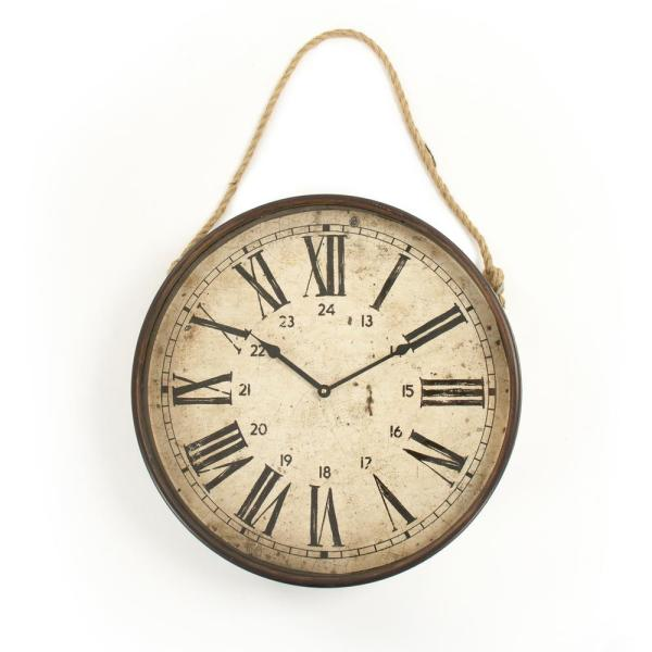 Bale Rope Wall with Ruman Numeral Distressed Clock