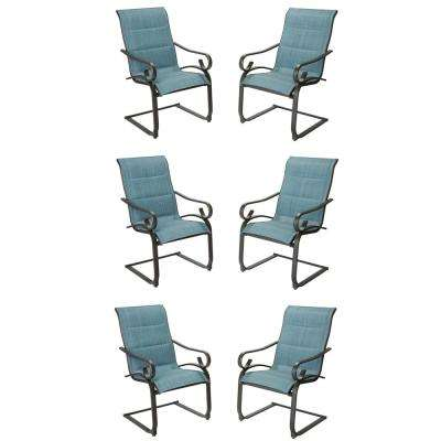 Crestridge Conley Denim Padded Sling Spring Outdoor Patio Dining Chair (6-Pack)