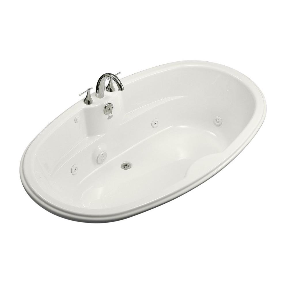 KOHLER 6 ft. Acrylic Oval Drop-in Whirlpool Bathtub in White with ...