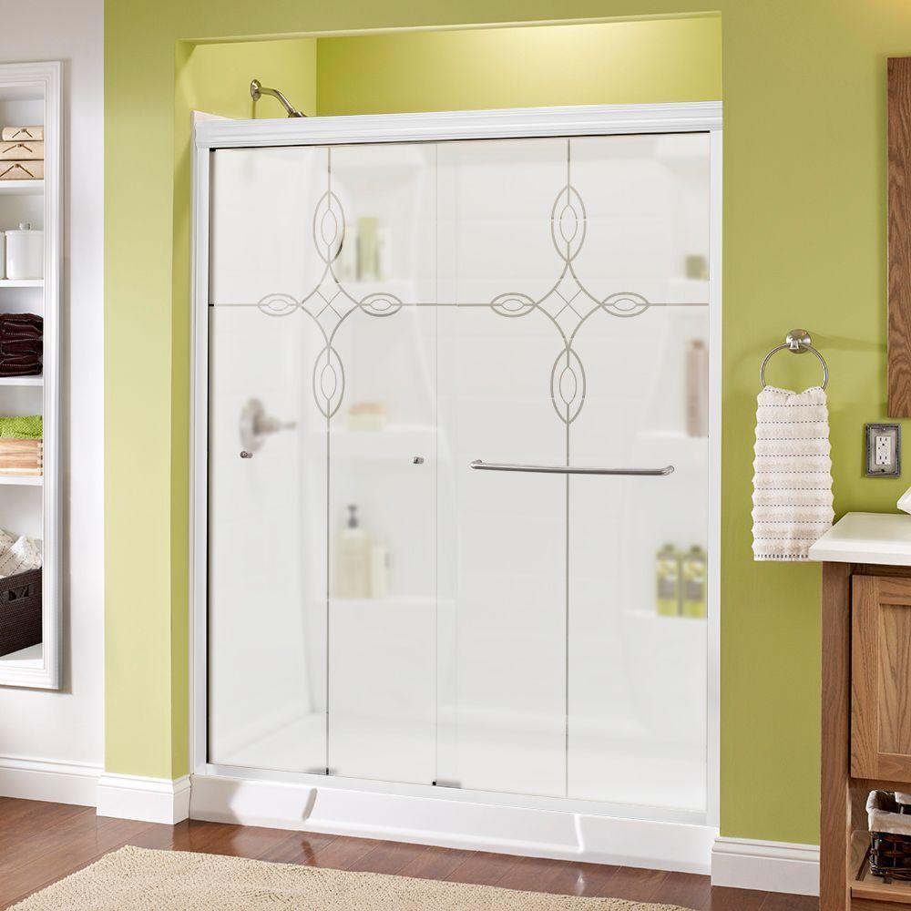 Simplicity 60 in. x 70 in. Semi-Frameless Sliding Shower Door in