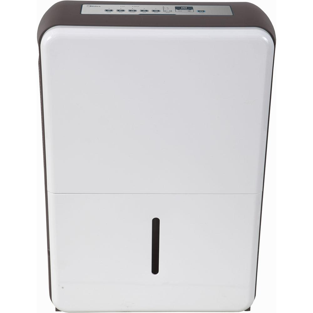 Midea 50-Pint Dehumidifier, Whites The Midea 50-pint dehumidifier functions to help protect your home from mold and mildew caused by excess moisture. Not only does it help to proactively prevent mildew and mold, but It also helps eliminate bacteria in the air that can cause breathing difficulties. Mideas 50 pints-per-day dehumidifier is capable of continuous operation when the unit is located near a suitable low-level drain. This models features include top-center controls, an easily accessible collection container with level indicator, and a washable filter that reduces bacteria, room odors and other airborne particles. Color: Whites.