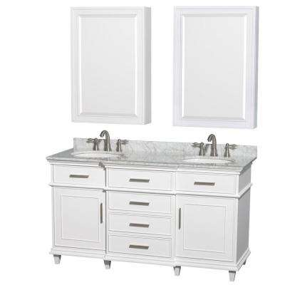 Berkeley 60 in. Double Vanity in White with Marble Vanity Top in White Carrara and Undermount Round Sinks