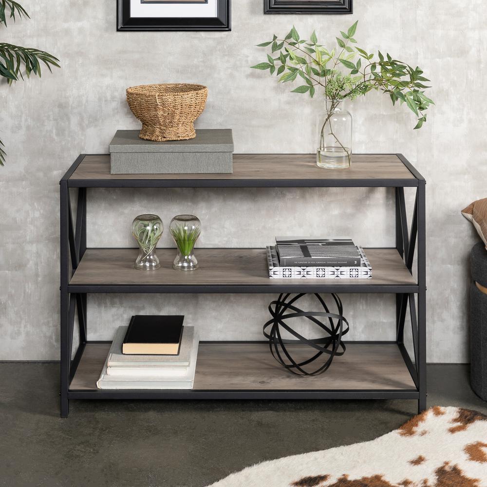 "40"" Industrial Wood Bookcase - Grey Wash"