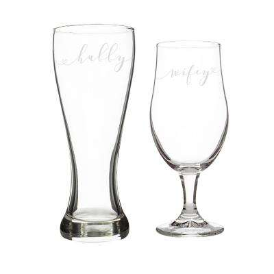 Hubby and Wifey Pilsner Glasses (Set of 2) by Pilsner Glasses