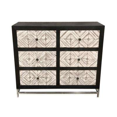 36.5 in. Black Wood/Metal Cabinet
