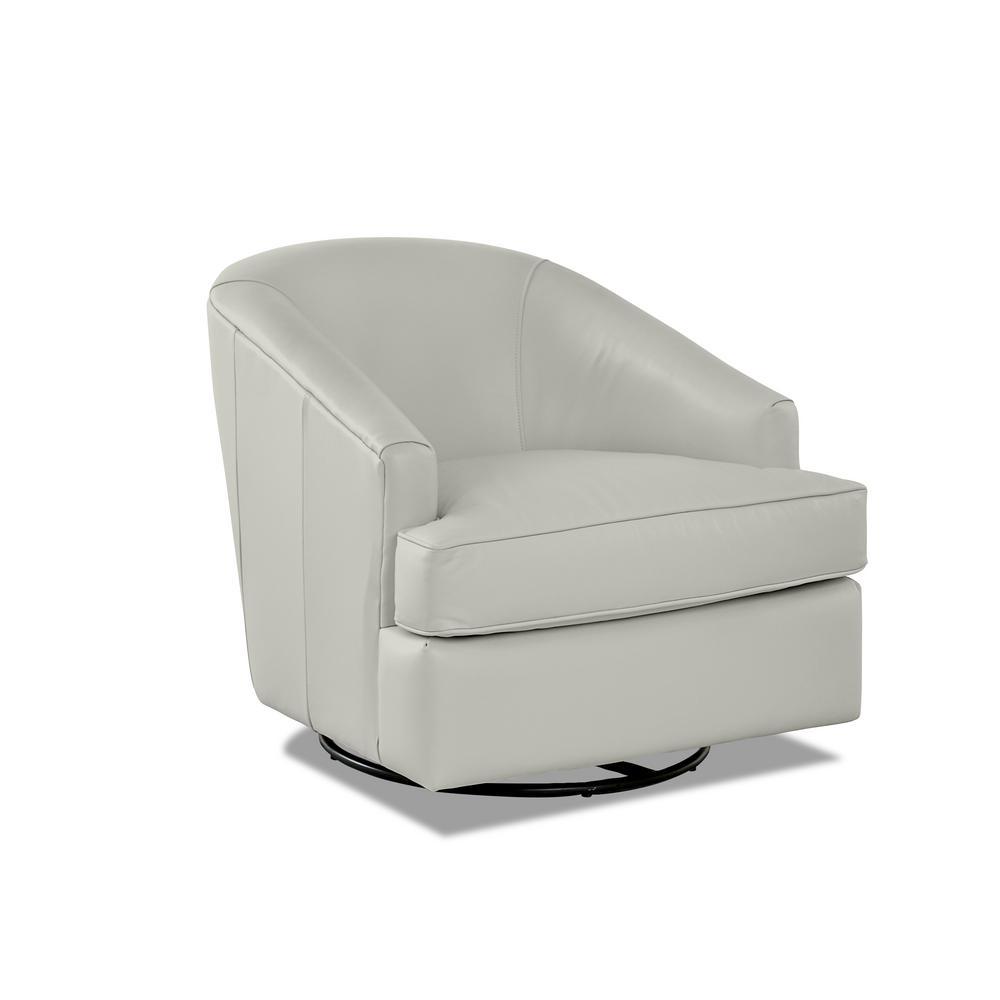 Lamar Leather Swivel Gliding Cream Accent Chair