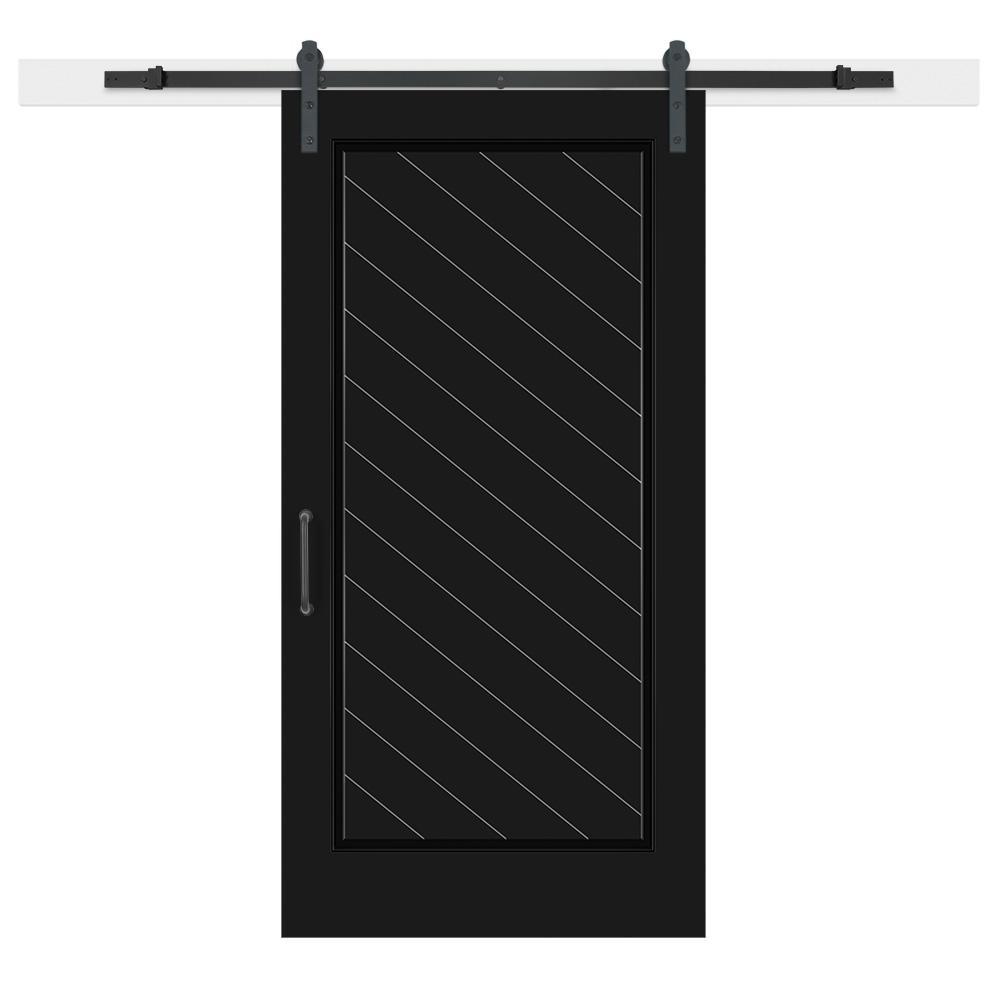 Jeff Lewis 42 in. x 84 in. Knight Composite 1-Panel Herringbone Solid-Core MDF Barn Door with ...